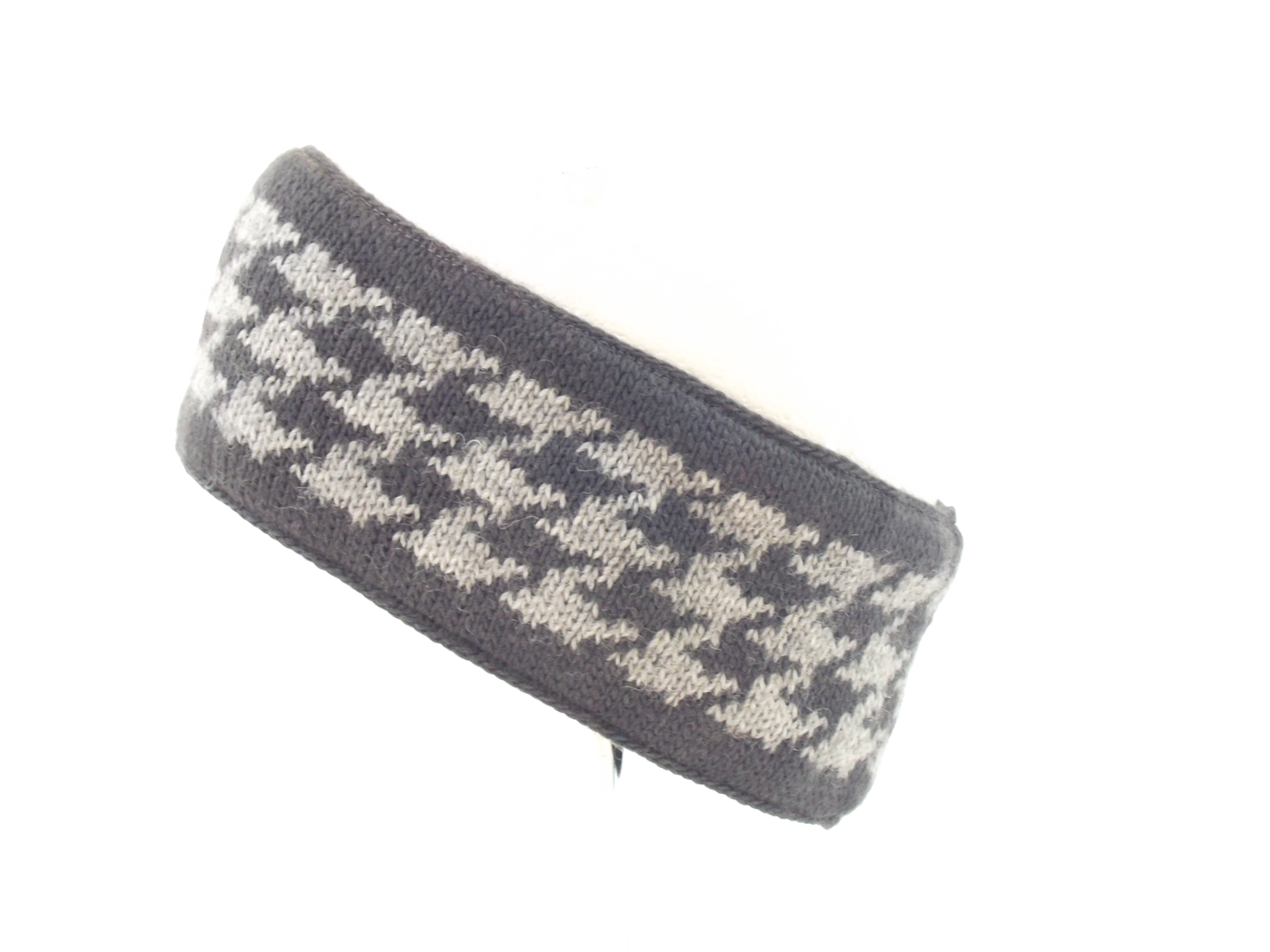 Dogtooth Wool Headband Charcoal Grey 100% Wool