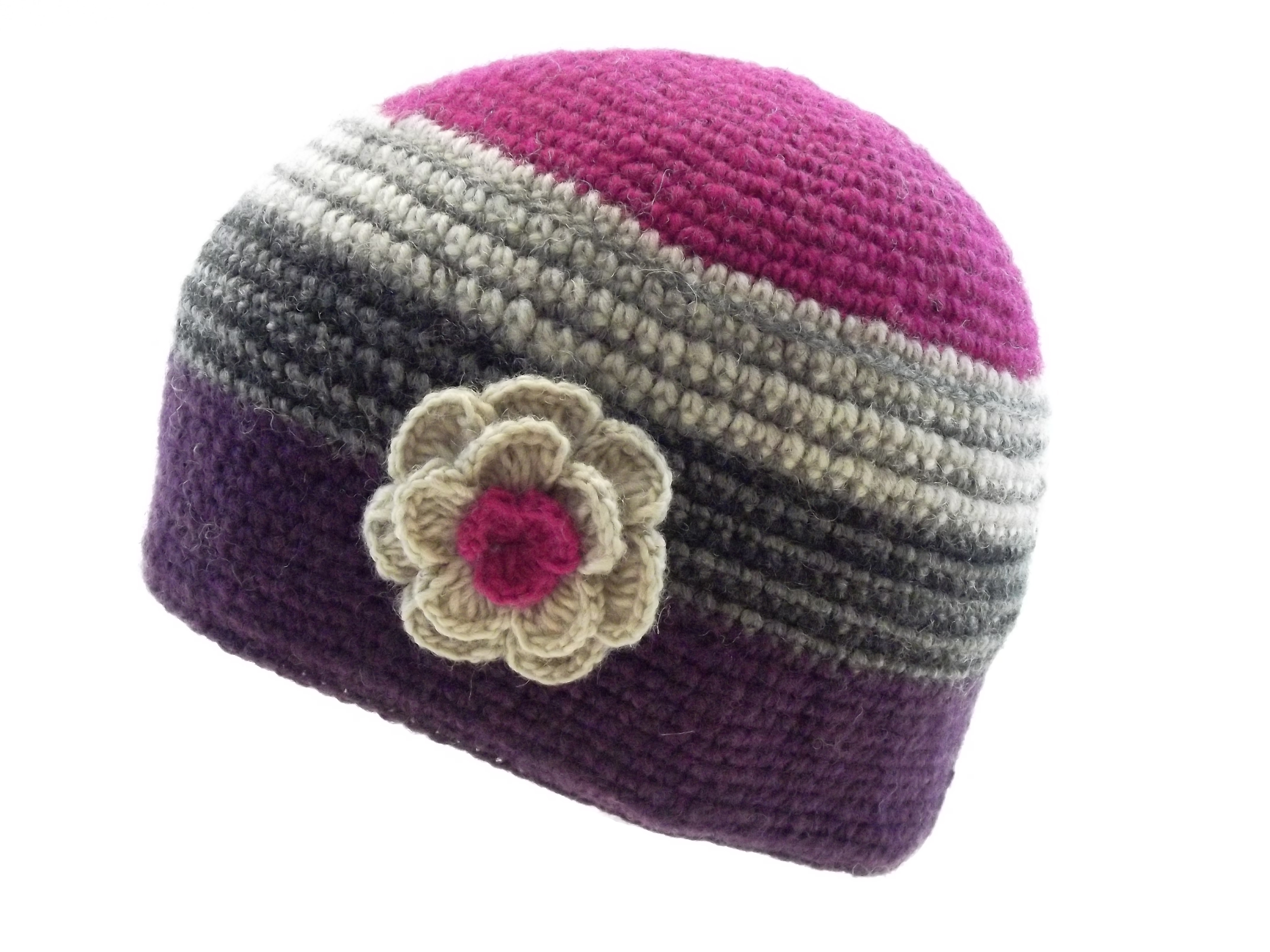 Crochet Cap with Flower Corsage Pink Purple 100% Wool