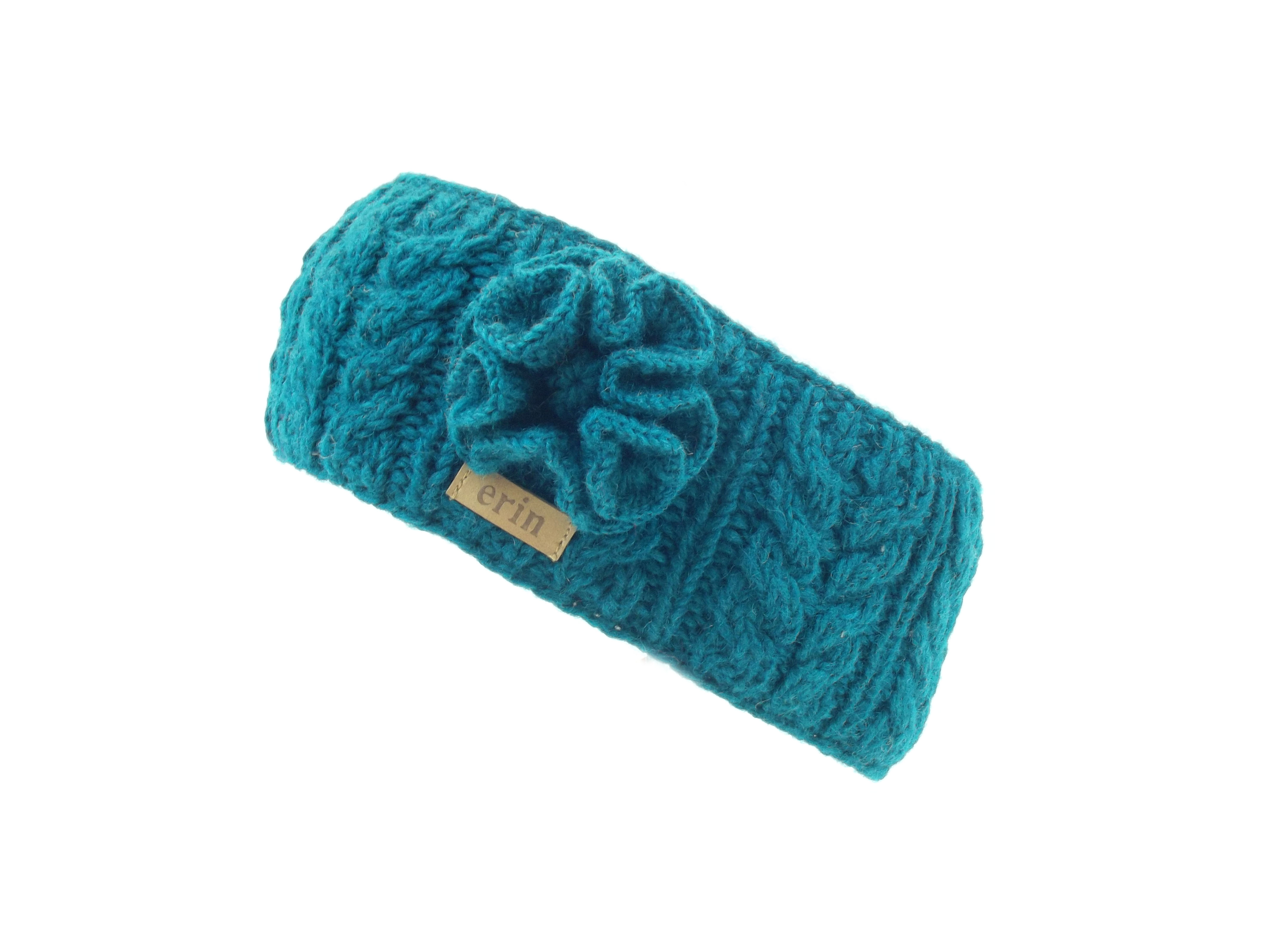 Aran Cable Headband with Flower Teal 100% Wool