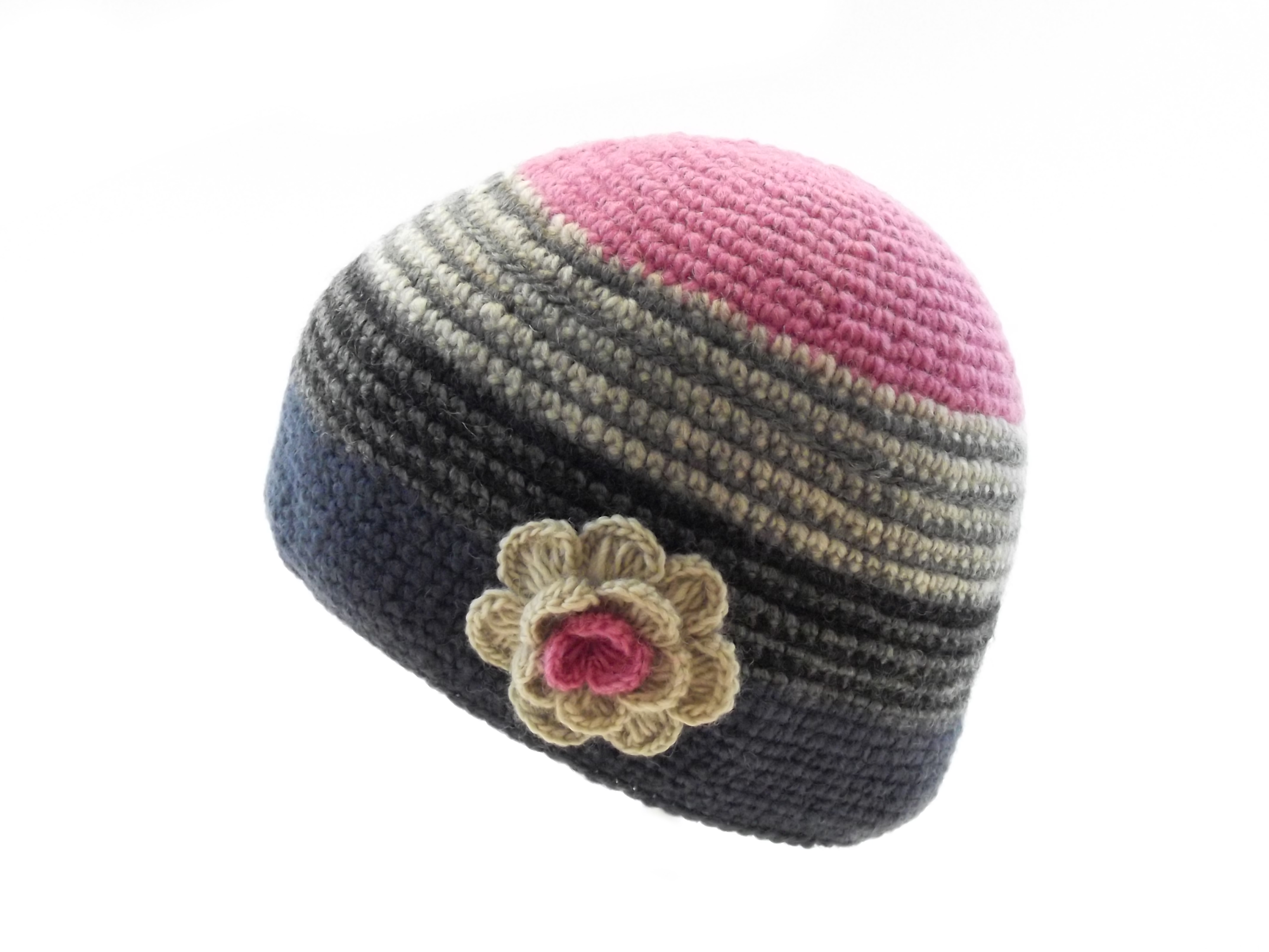 Crochet Cap with Flower Corsage Blue Pink