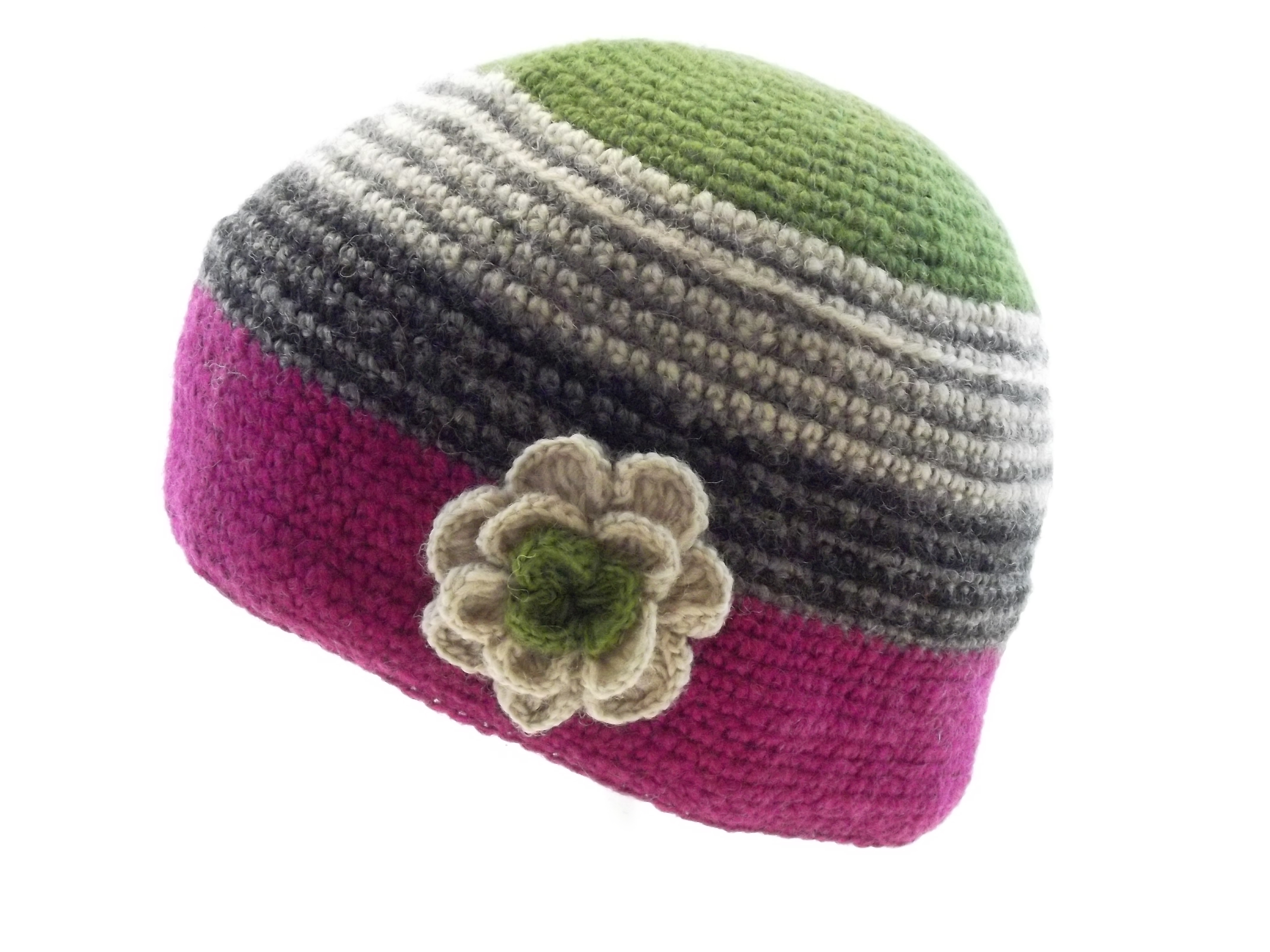Crochet Cap with Flower Corsage Pink Green 100% Wool