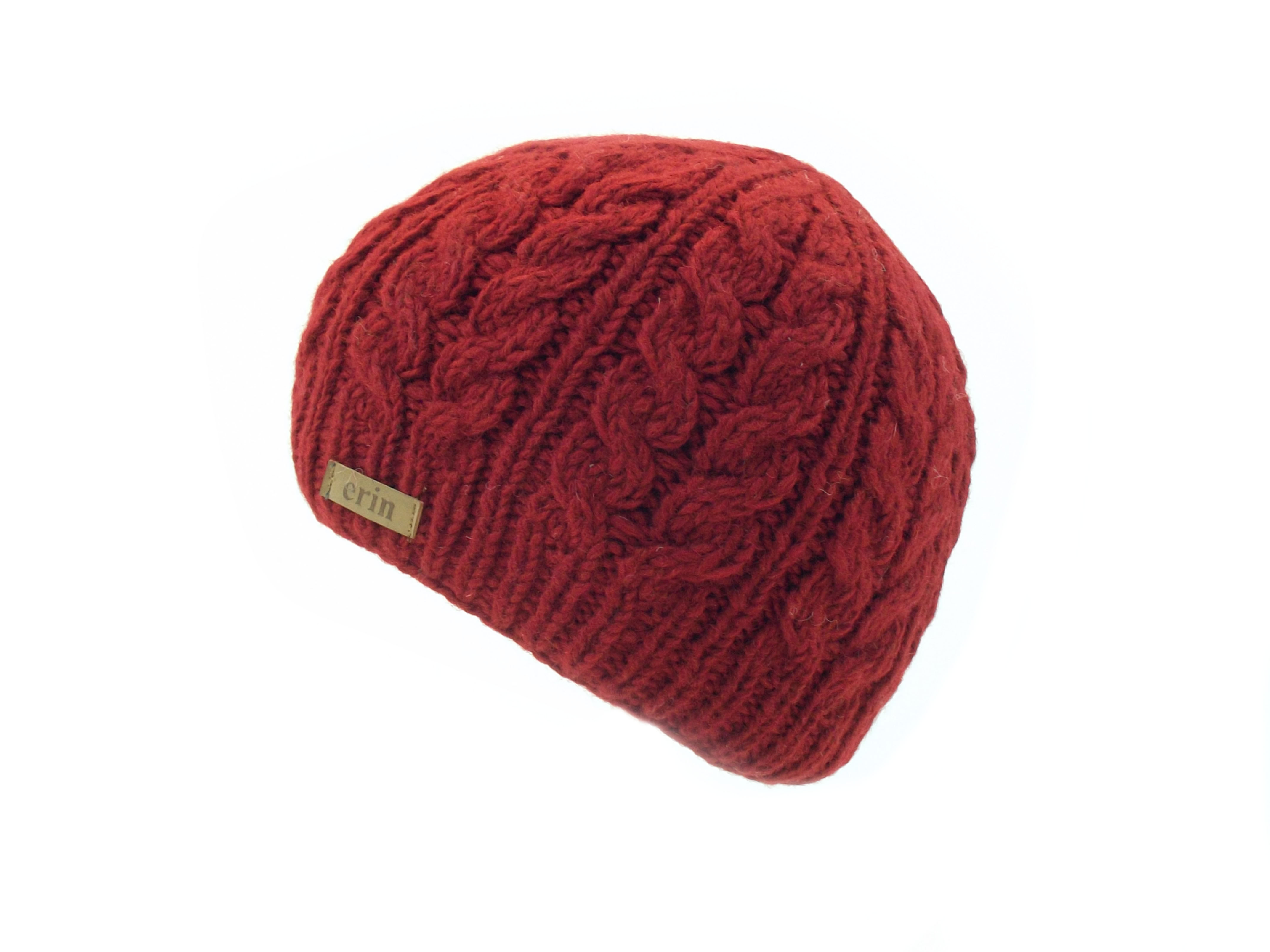 Aran Cable Pullon Hat Red 100% Wool