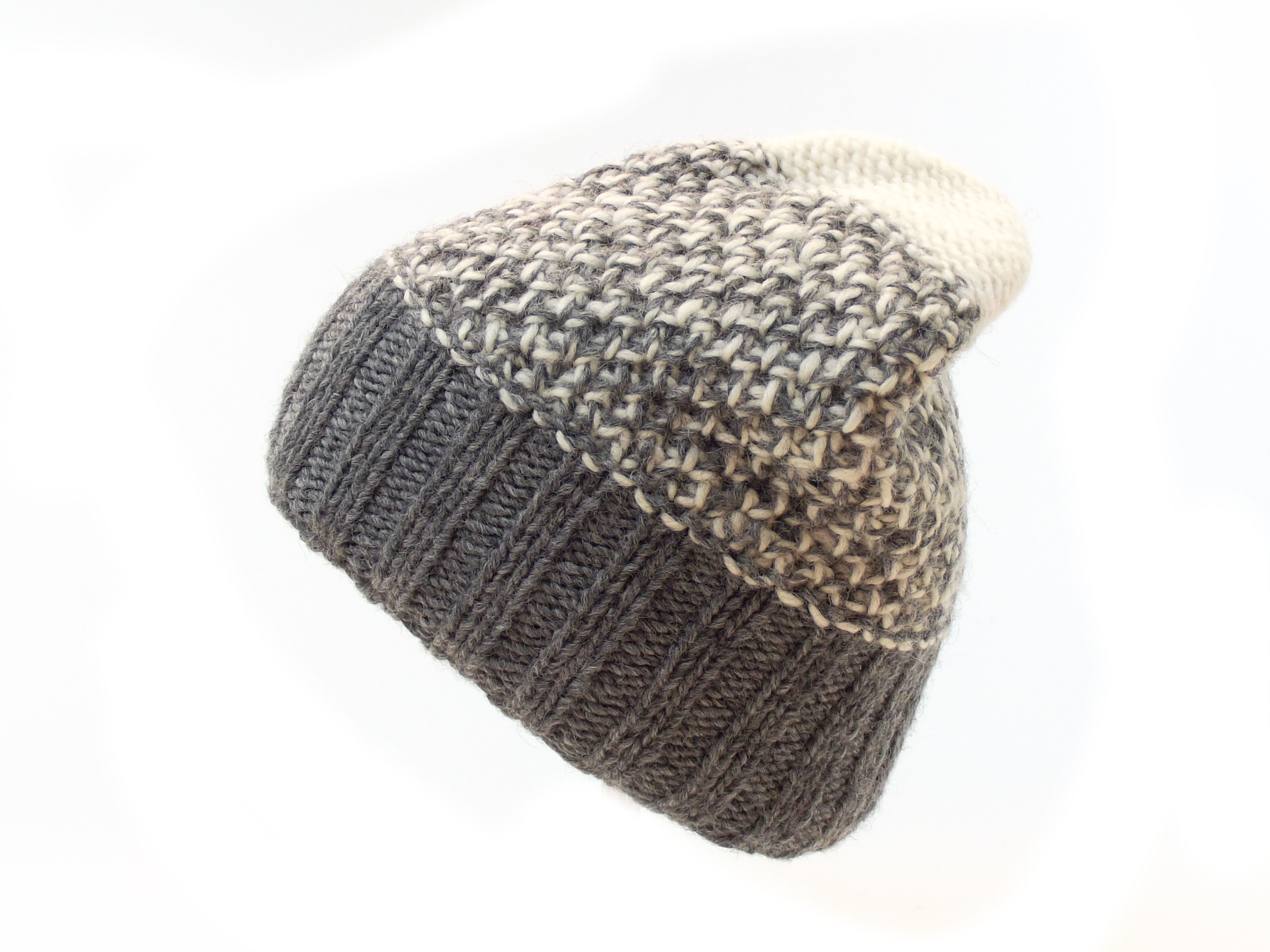Tri Knit Wool Floppy Hat Grey 100% Wool