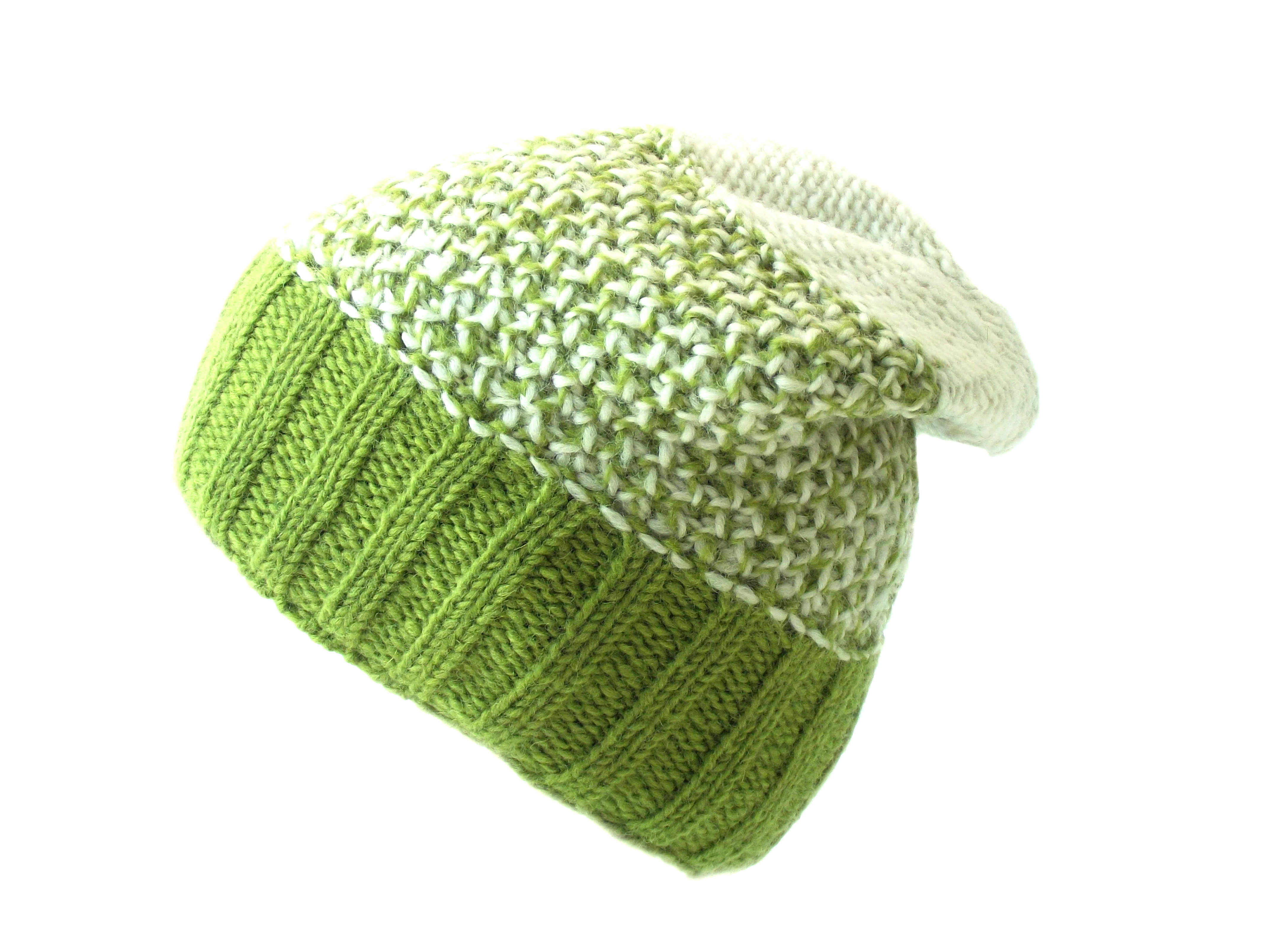 Tri Knit Wool Floppy Hat Green 100% Wool
