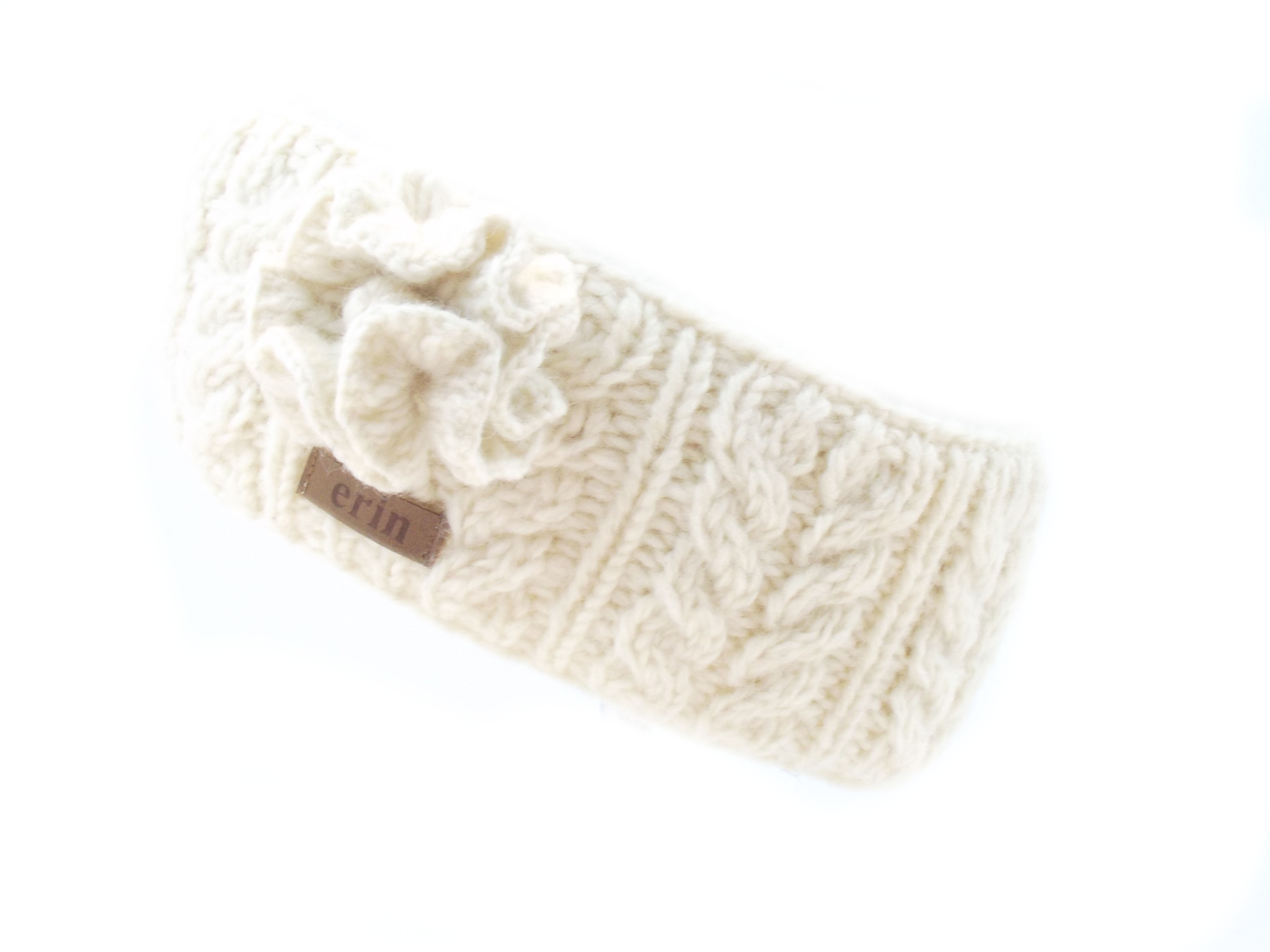 Aran Cable Headband with Flower White 100% Wool