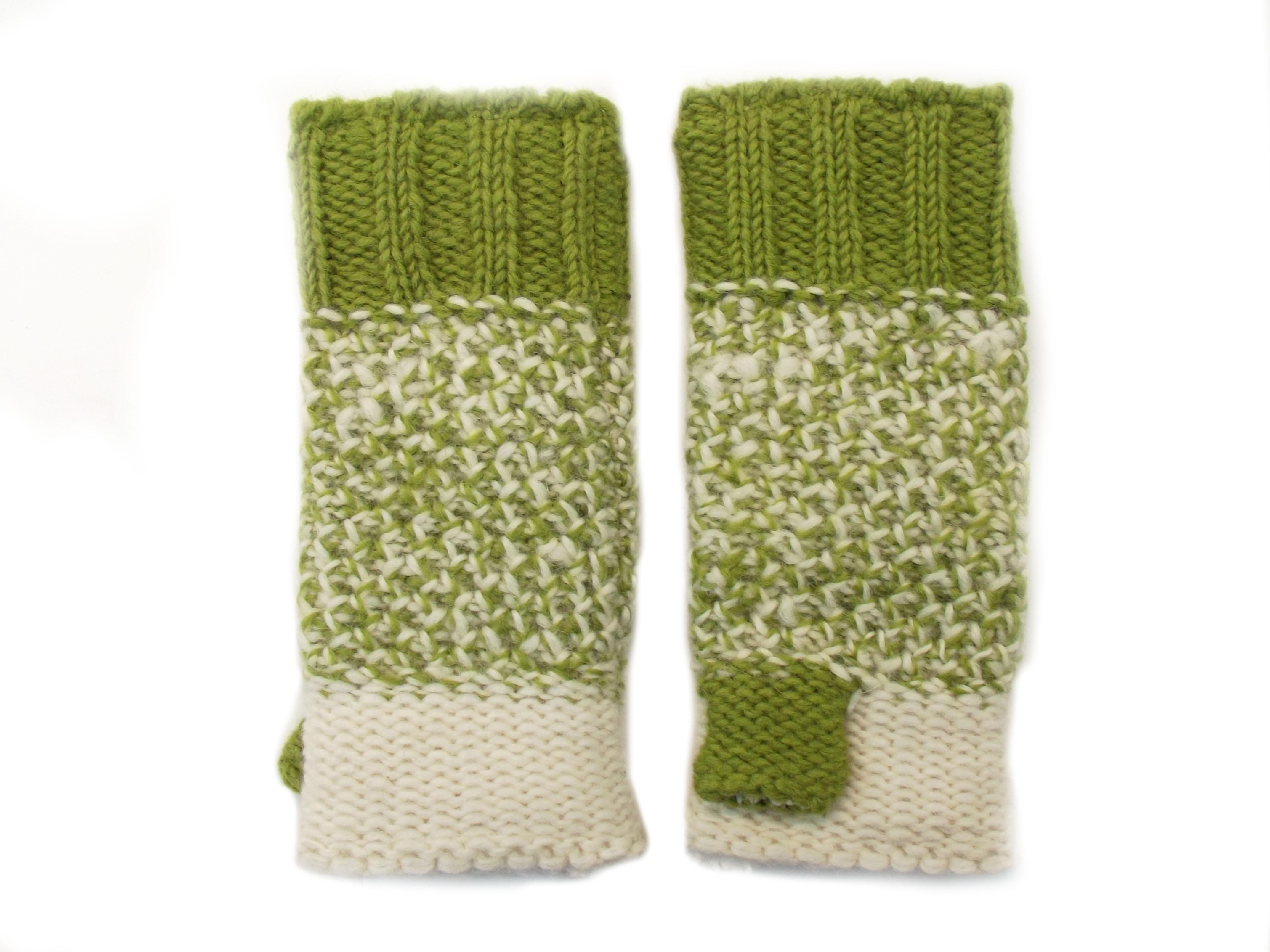 Tri Knit Wool Hand Warmers Green 100% Wool
