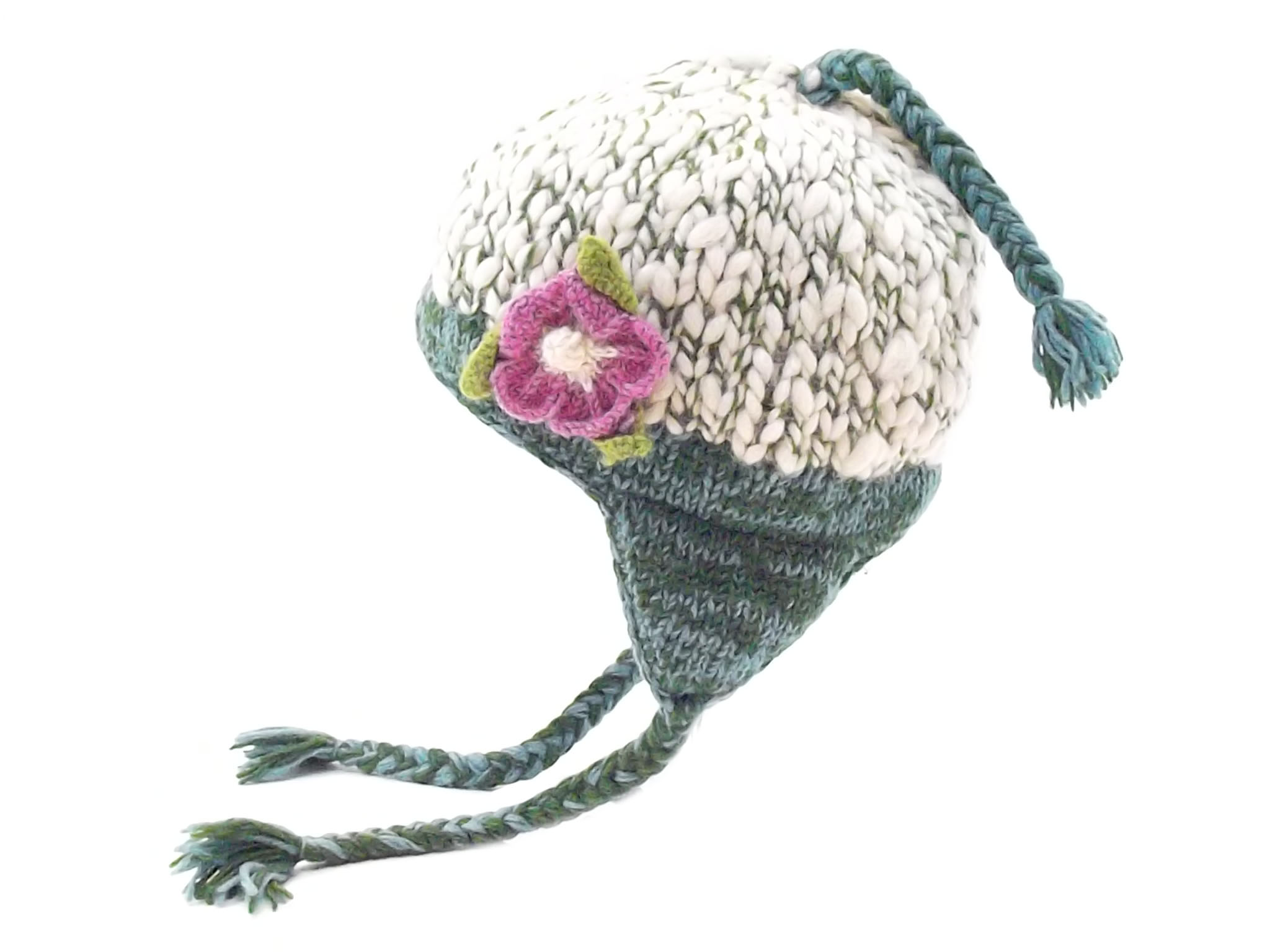 Uneven Wool Earflap Hat with Flower Teal 100% Wool