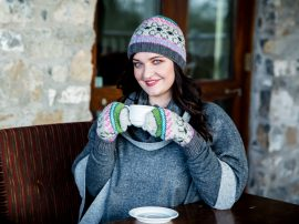 Fairisle Hat and Hunter Gloves Grey Pink 100% Wool