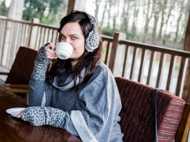 Erin Animal Print Hand Warmers and earmuffs Charcoal