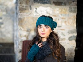 Aran Cable Headband and Hand Warmers with Flower Teal 100% Wool