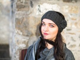Aran Cable Headband Charcoal