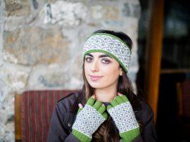 Headband and Hand Warmers 4 Count Wool Green 100% Wool