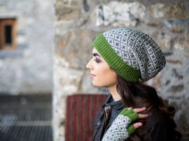 Floppy Beret 4 Count Wool Green 100% Wool
