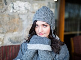 Cable Earflap and Hand Warmers Grey 100% Wool