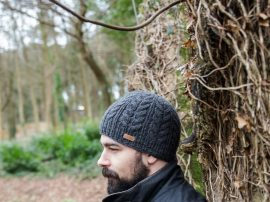 Aran Cable 100% Wool Hat Charcoal