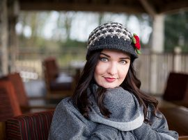 Black Grey Peak Hat 100% Wool