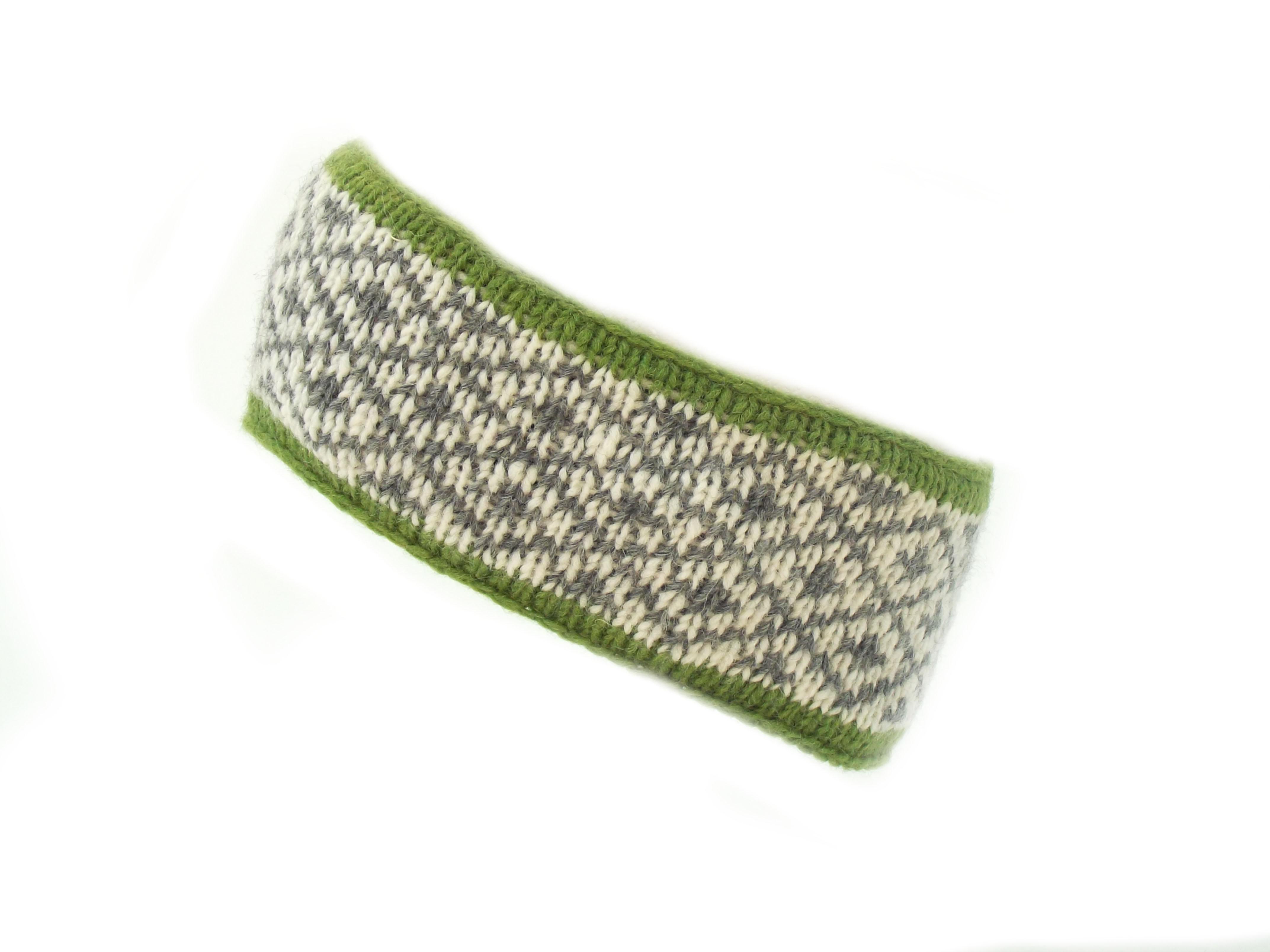 Headband 4 Count Wool Green 100% Wool