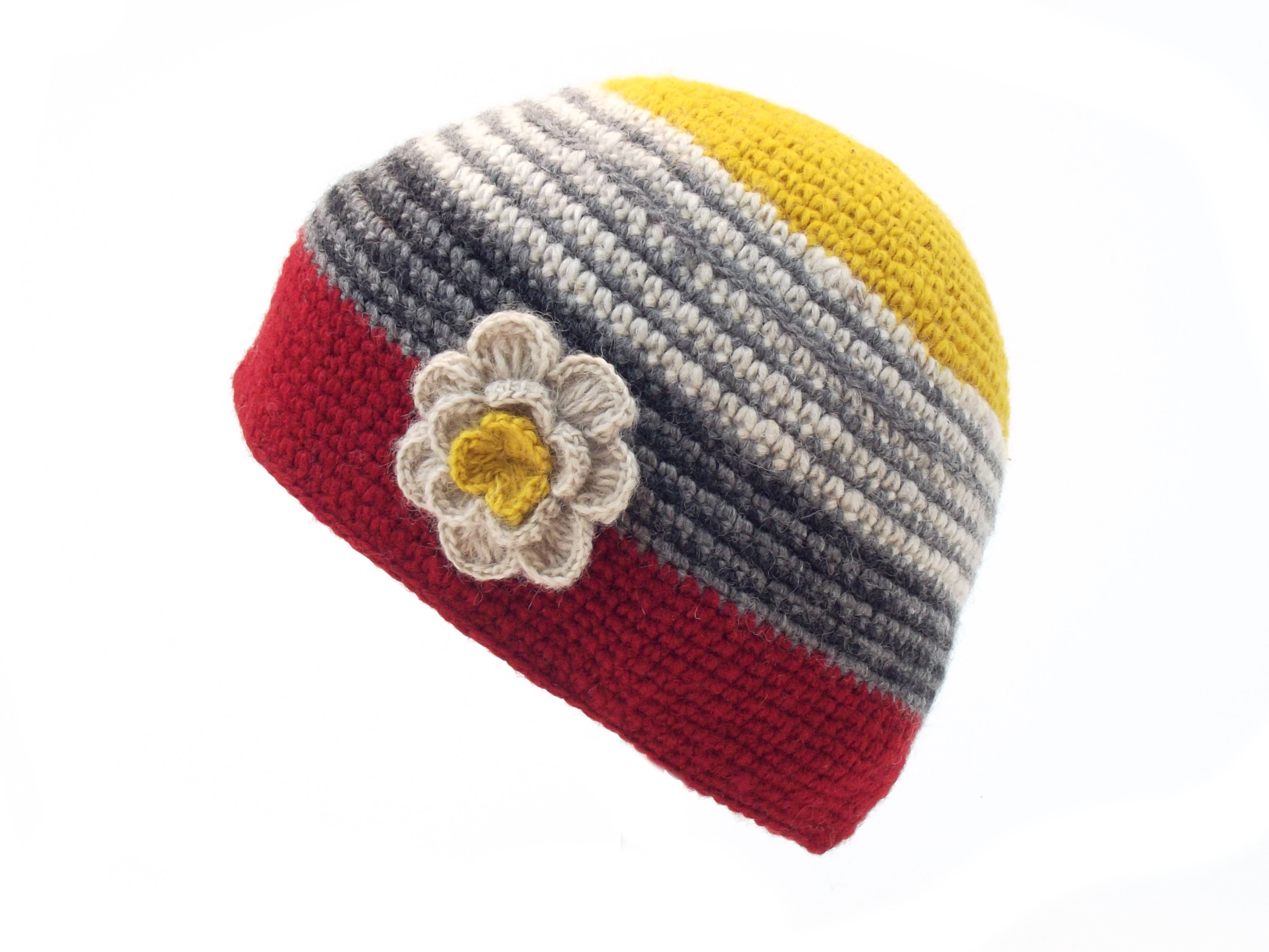 Crochet Cap with Flower Corsage Red Yellow 100% Wool