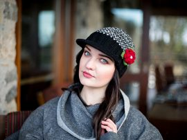 Black Grey Peak Hat with Red Flower Corsage 100% Wool