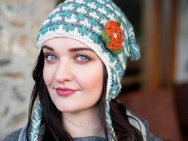 Turquoise Earflap Hat 100% Wool
